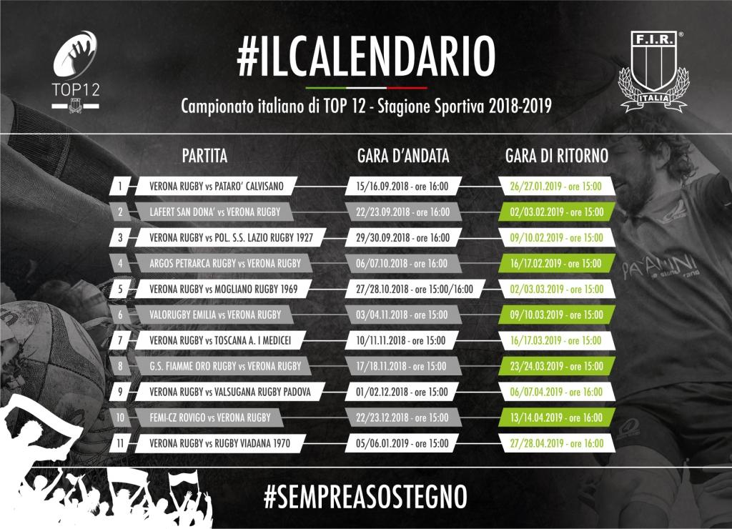 Calendario Verona.Top 12 Ufficializzato Il Calendario Verona All Esordio Con